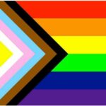 Progress Pride Inclusivity Flag design from 2021, indicating a safe space for LGBTQIA+ and BIPOC individuals